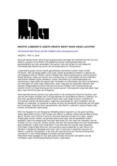 MARTIN LUBENOV'S JAZZTA PRASTA REIKT NAAR HOGE LUCHTEN (image)